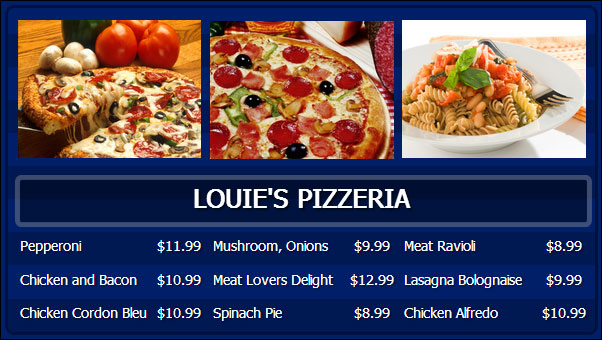 Digital Menu Board And Sign Display System For Flat Screens By