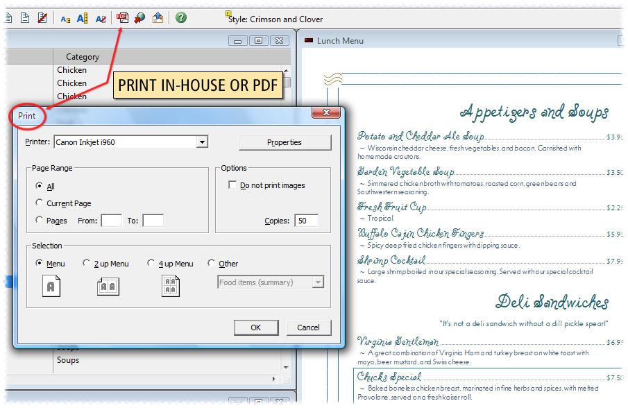 Softcafe menupro restaurant menu design software demo